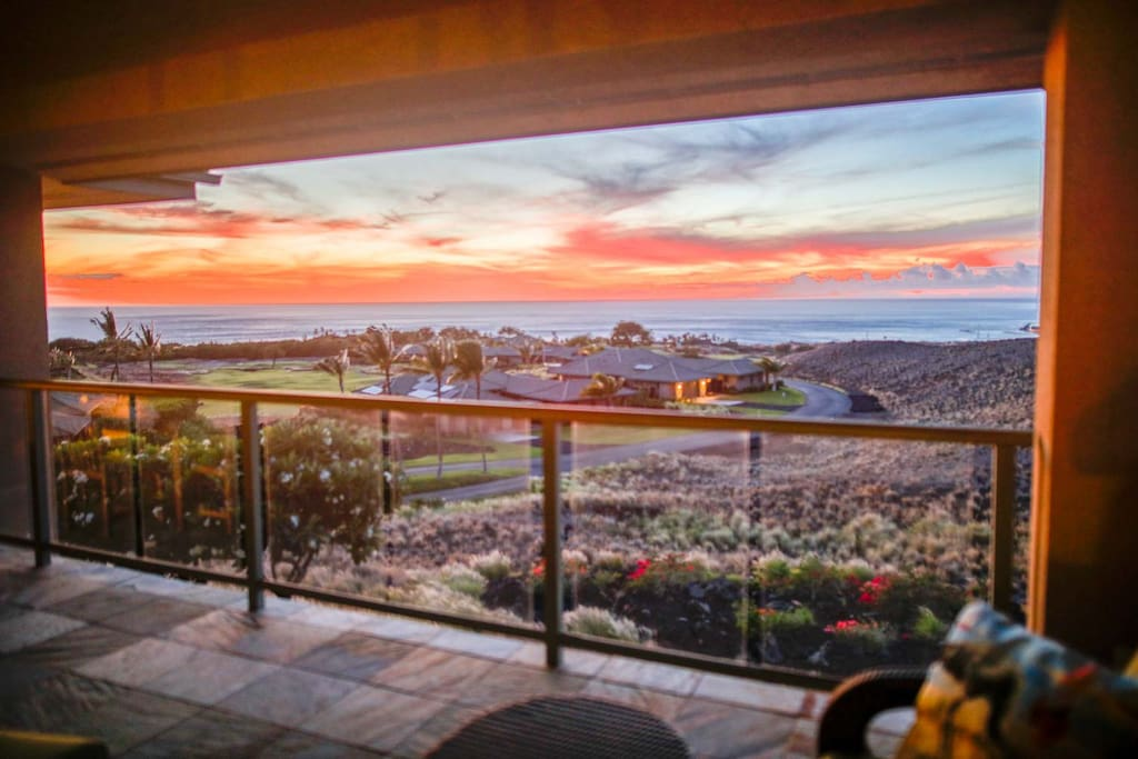 Watch glorious sunsets from the Lanai