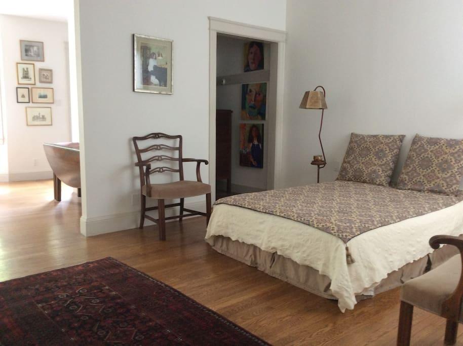 Bedroom area (the apartment is an open floor plan)