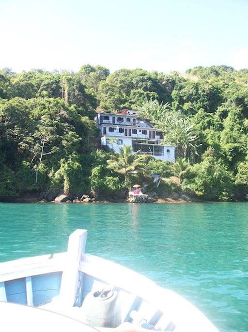 View from the boat arriving at the Pousada.