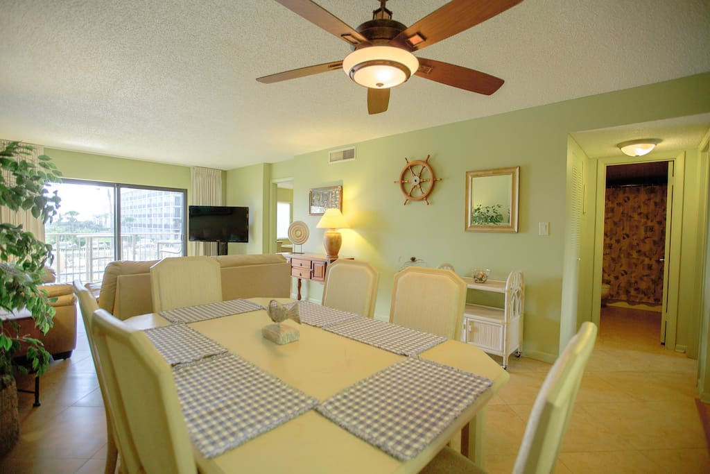Dining room into living room - large & bright!