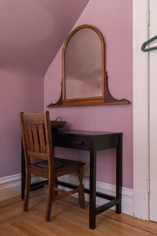 Bedroom vanity, with mirror and hairdryer
