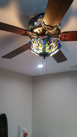 Remote operated multi-speed fan with colorful lights