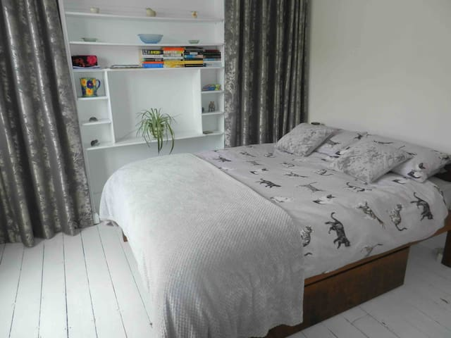 The room has a king-size double bed.
