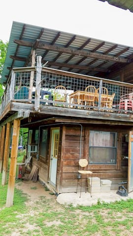 Take your cup upstairs to enjoy the covered deck...
