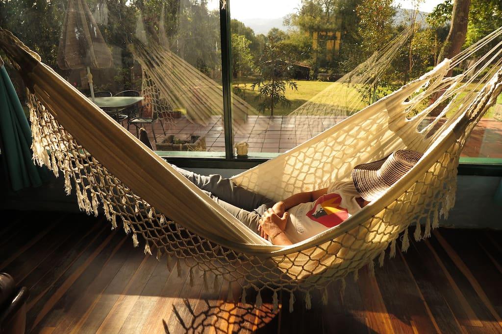 Hammock in the living room, with a great view to wake up from your nap - Hamaca en la sala, con una buena vista para despertarte de una siesta.