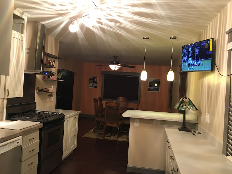 View from the end of the kitchen to the dinning room.