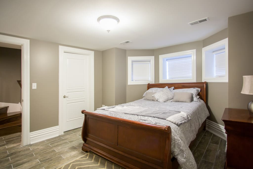 The bedroom- there is a walk in closet with extra pillows towels, sheets and umbrellas should you need them.  Queen size pillow top mattress is only three years old, medium firm.