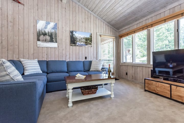Invigorating Pet-friendly mountain condo with fireplace and shared hot tub