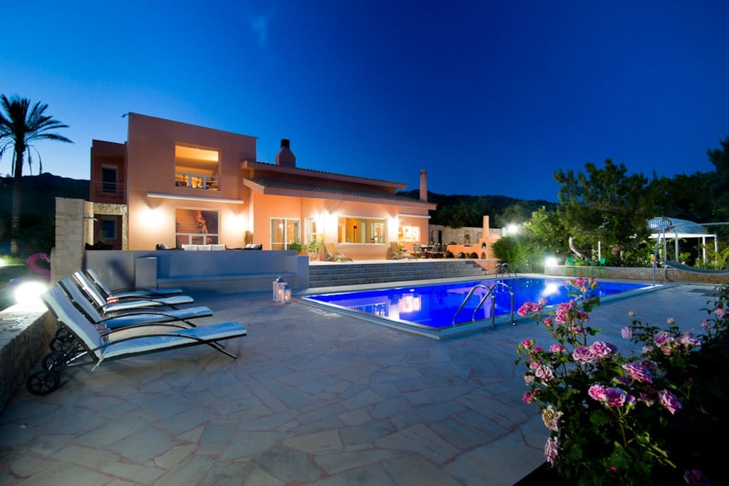 Private Pool Villa with amazing breathtaking views at night.