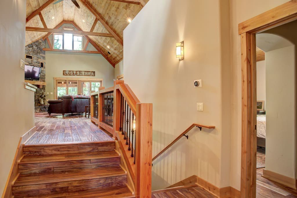 Entry way to the living room or down to bedrooms