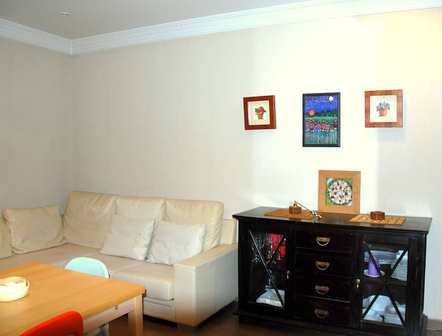 Salon, sofá de piel