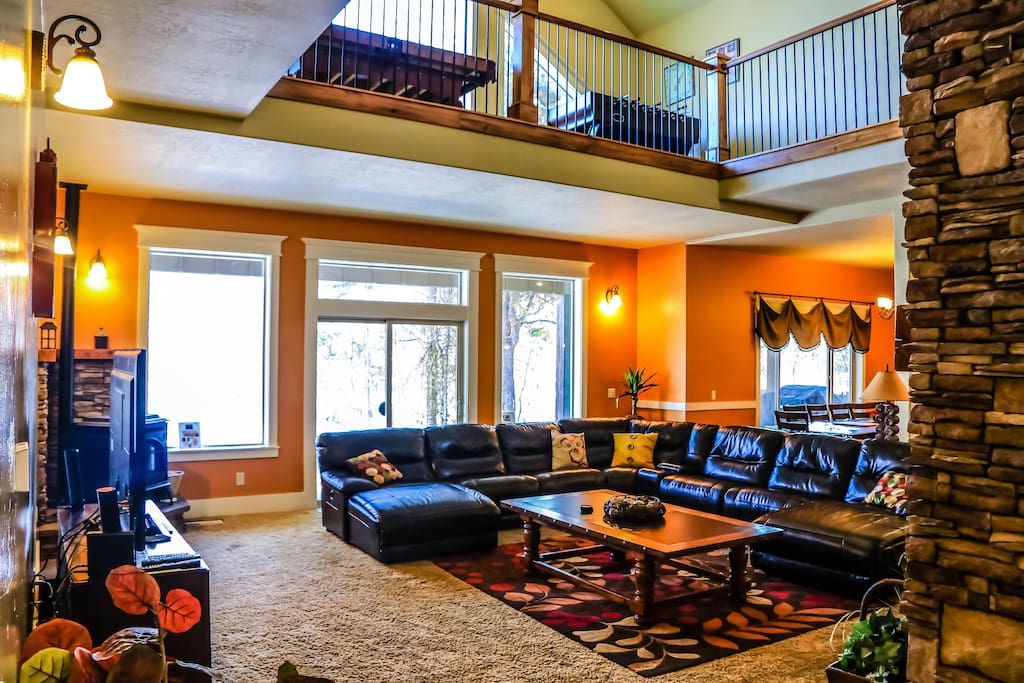 Living Room with two fireplaces and ample seating for large groups