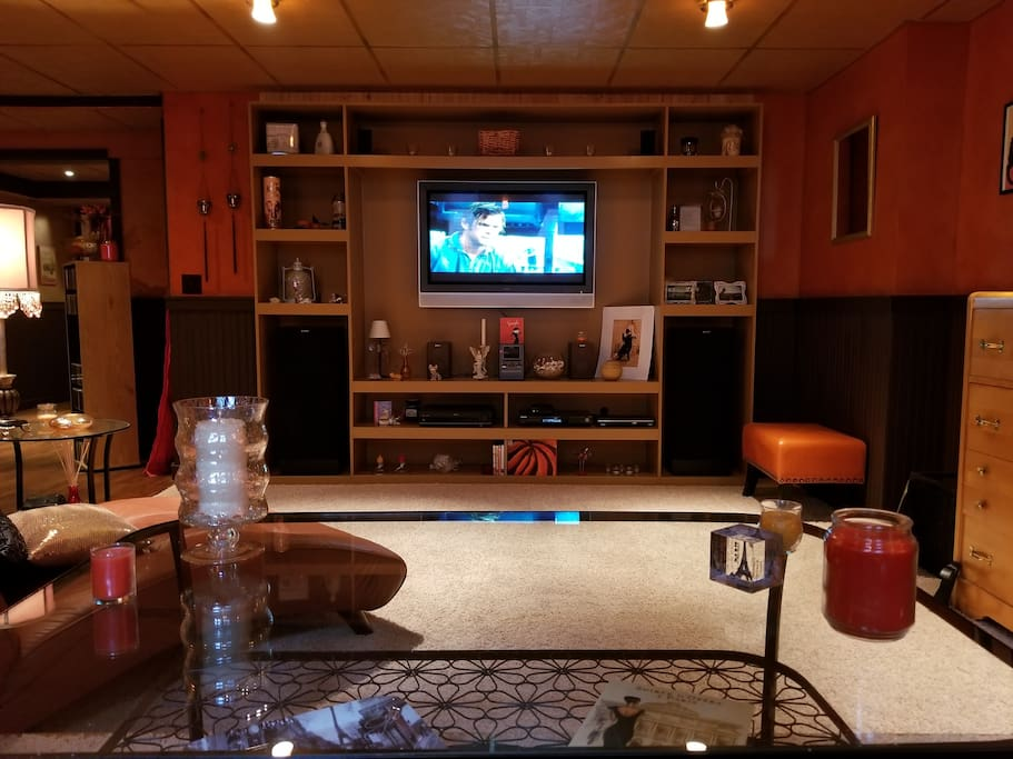 Large flat screen TV, stereo system, DVD player, Netflix accessible on your laptop or device
