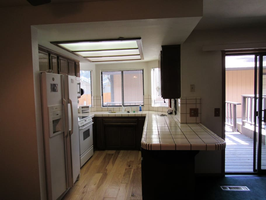 Kitchen and view to Back Deck