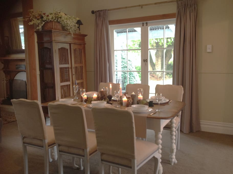 Gorgeous dining area with garden views.