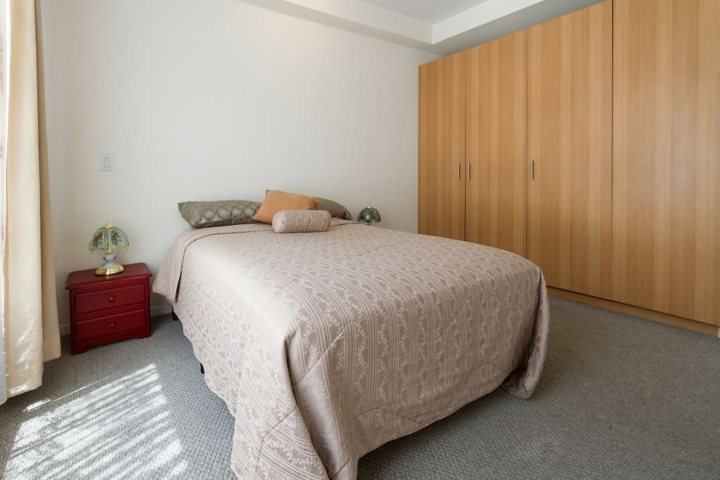 Double bed and wardrobe