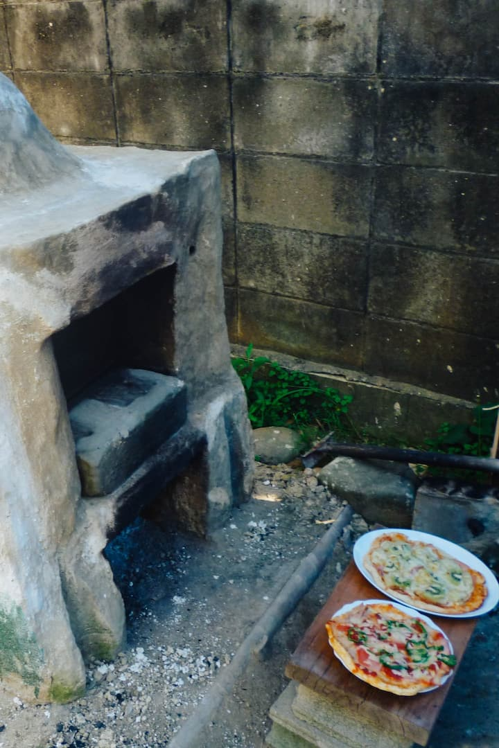 front of self-made oven
