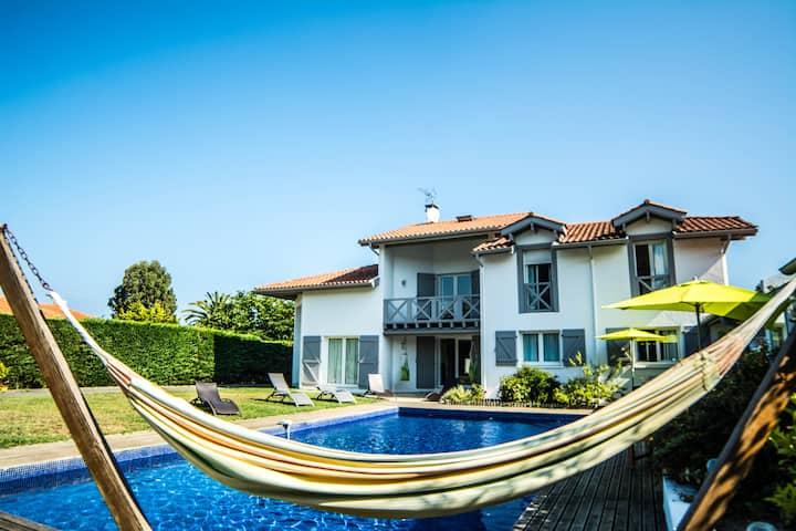 superbe villa familiale, 12 pers, Anglet  plage