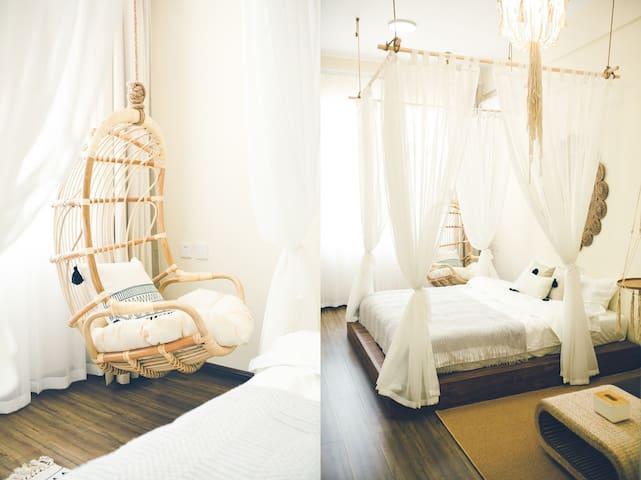 近海民宿  网红民宿  摩洛哥风  室内带吊椅 投影