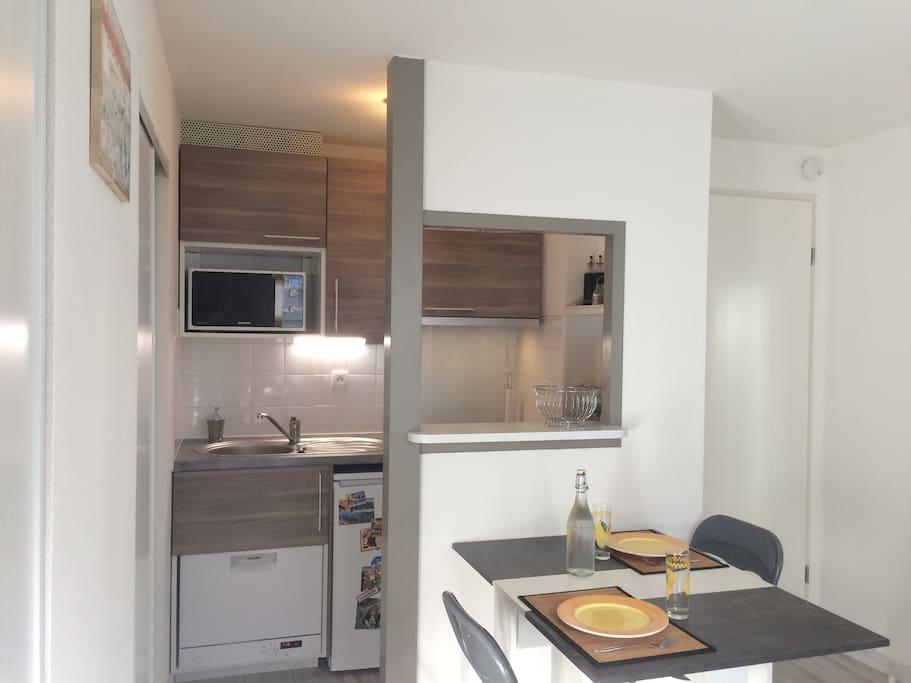 Cuisine avec lave-vaisselle, plaque induction, micro-ondes, hotte, appareil à fondue et raclette, vaisselle pour 4 personnes.