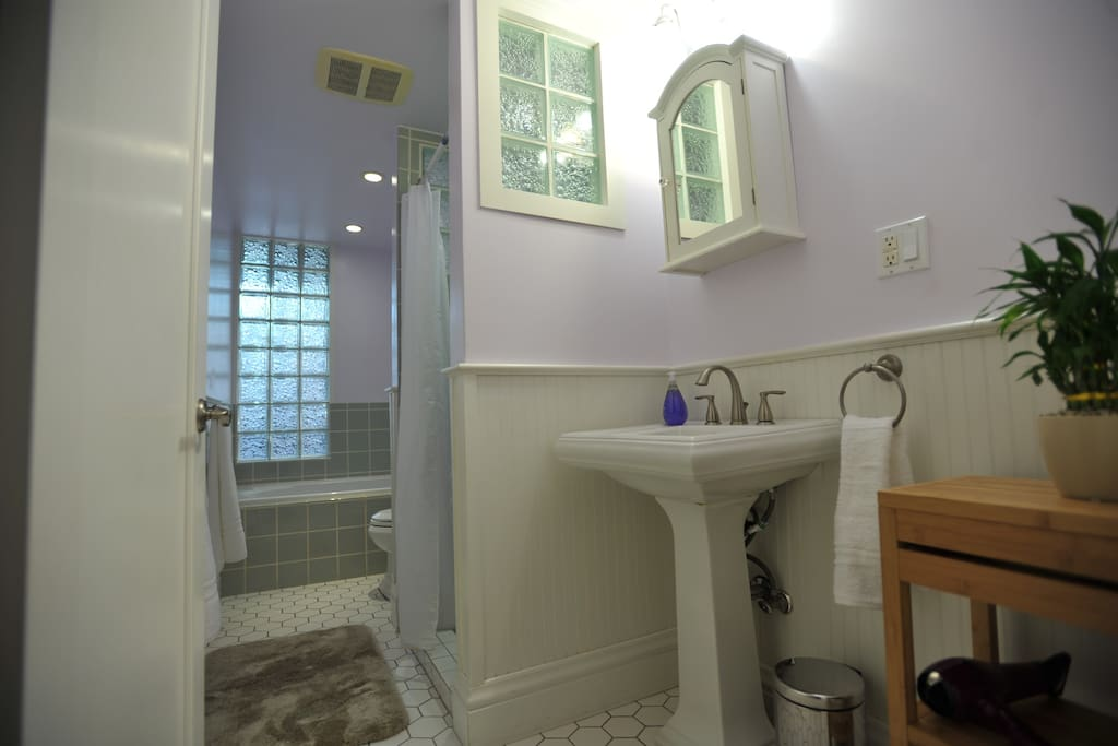 Bathroom with jet tub and separate shower