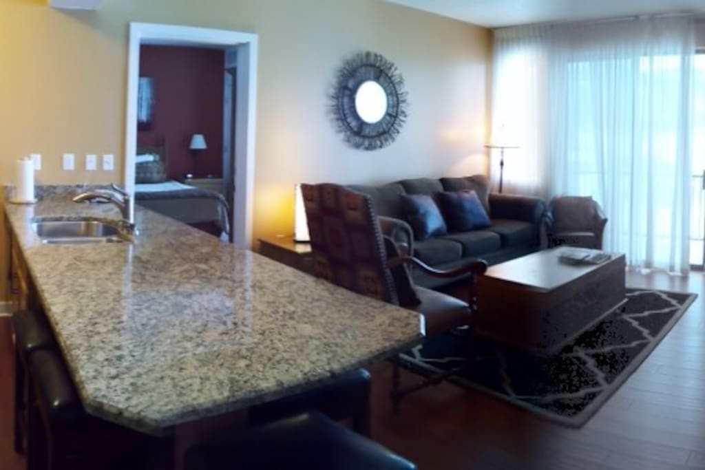 Open Granite kitchen with hardwoods & stainless, seating for 5