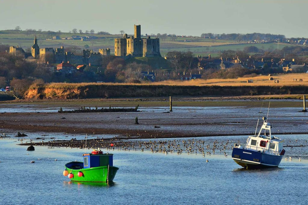 Amble with Warkworth castle in background
