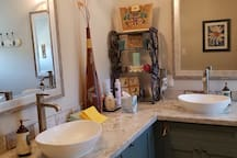 Double sinks for a quick get away on your big day antique shopping.