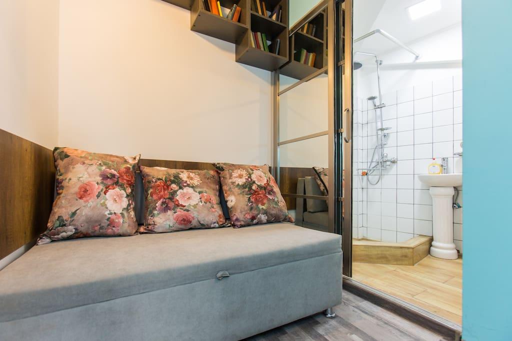 Sofa, on the right -Bathroom
