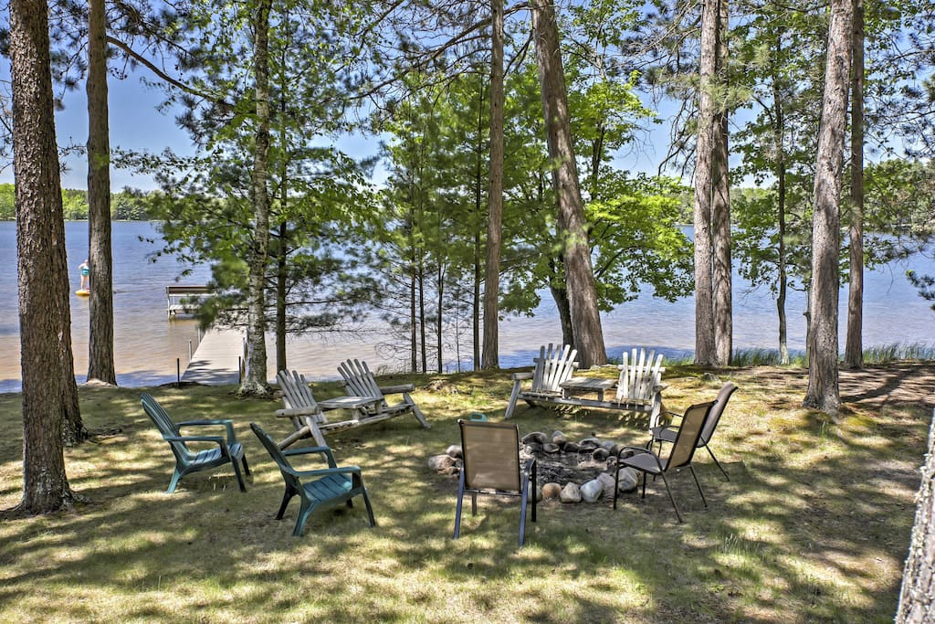 This property features a fire pit, hammock, and private dock.
