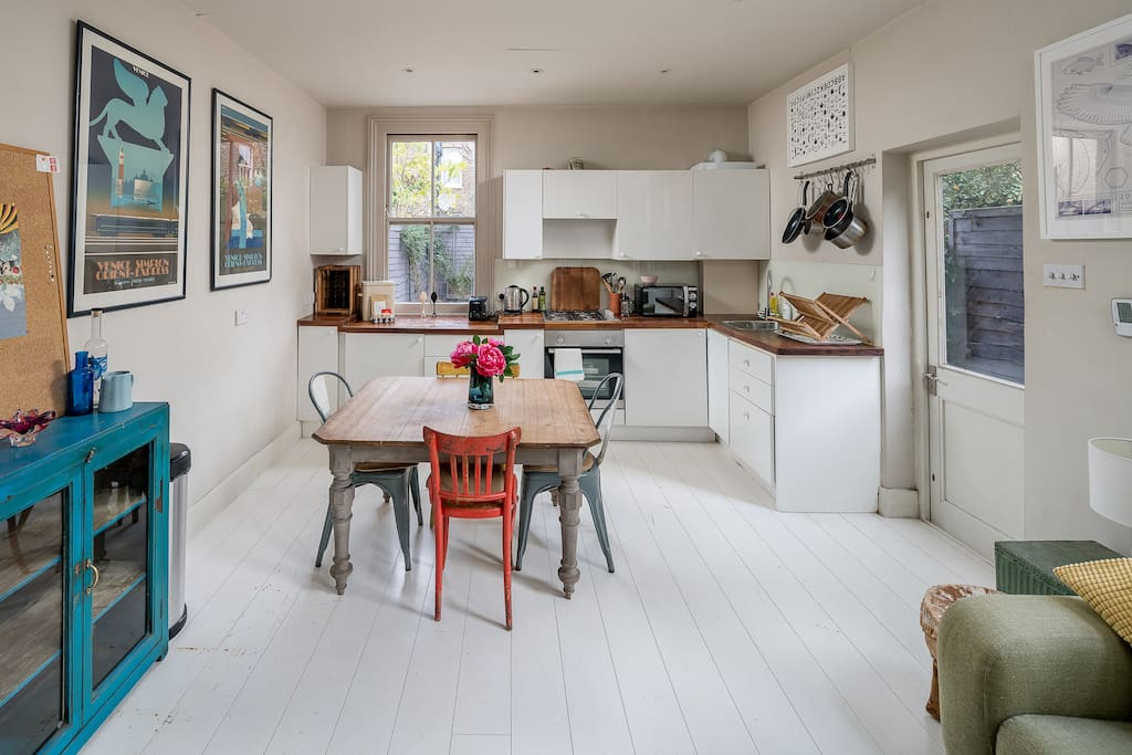 The kitchen is open-plan and has all the appliances you need to cook up a feast.