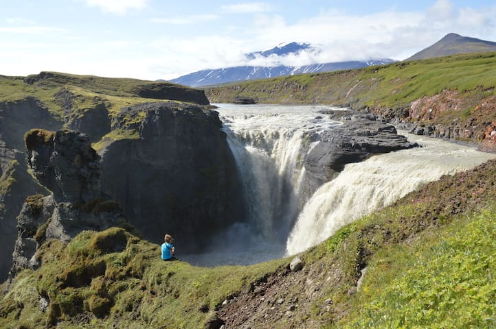 Kirkjufoss Waterfall is 2 km away from Laugarfell and is part of the 8 km hiking trail Waterfall Circle that starts and ends in Laugarfell.