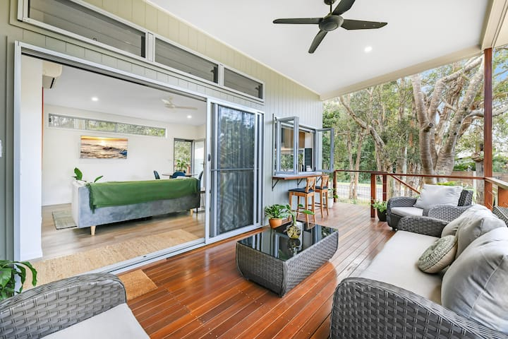 New Beach House among the trees at Coolum Beach