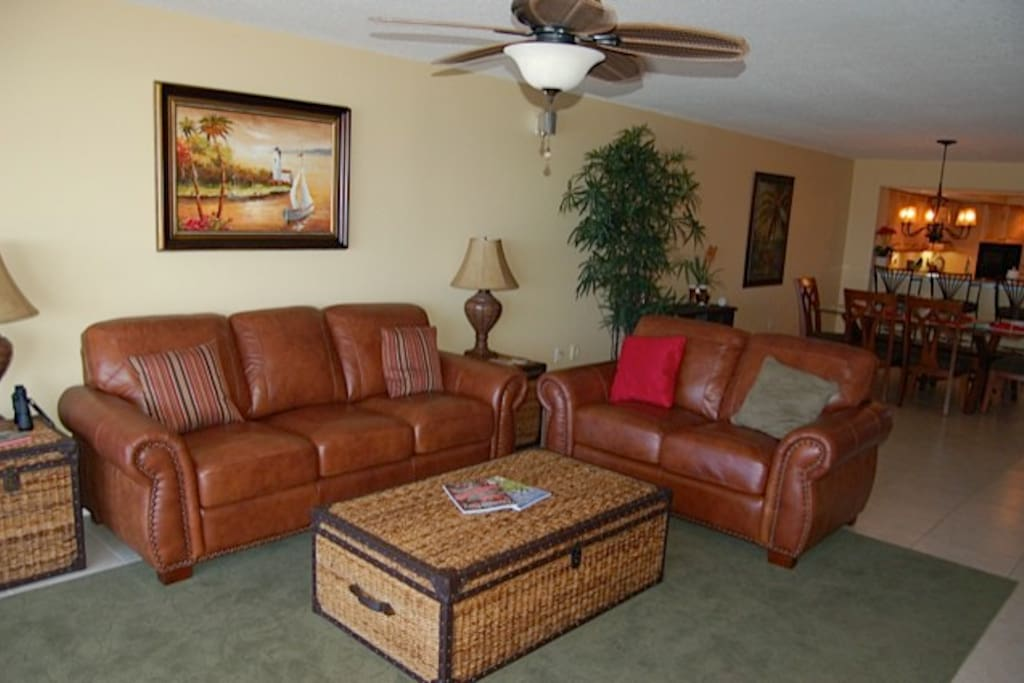 New furniture and flat screen TV in the living room