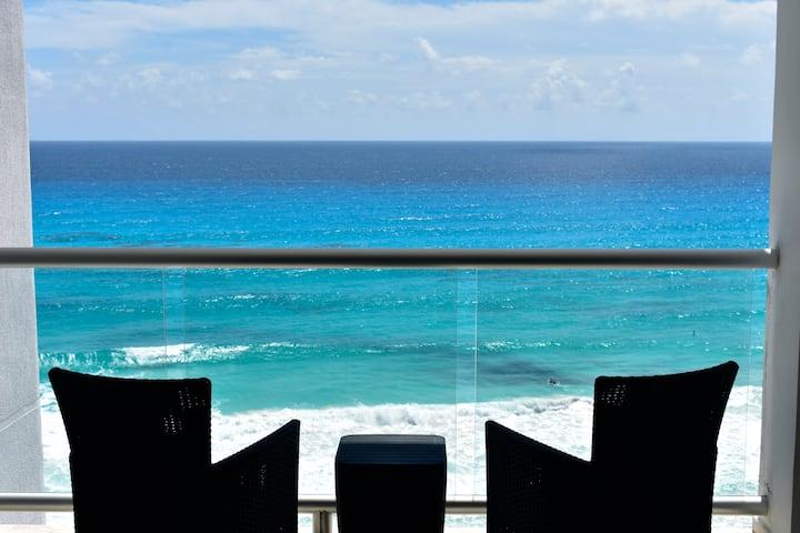 Loft vista al mar caribe y playa 2 Pax 7F