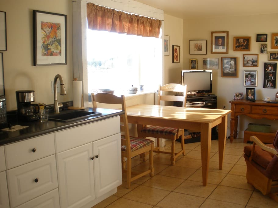 kitchenette area with coffee maker and microwave.  Cable TV. DVD player.