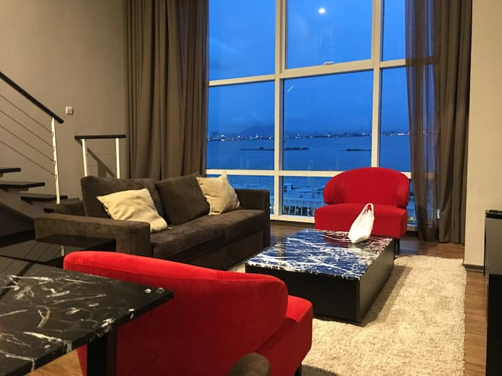 Entire Duplex Condominium: Penang   Max 6 guests  2 bedrooms, 2 bathrooms  1 masterbed with enquire bathroom  2 single twin bedded  1 sofa bed  1 bathroom on ground floor of duplex    Beautiful duplex suites located in the heart of maritim