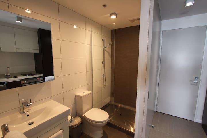 Bathroom area - vanity, toilet and shower