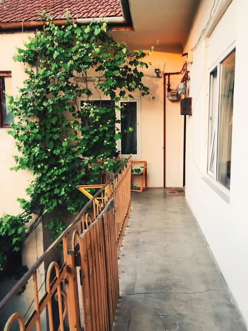 The terrace leading to the apartment
