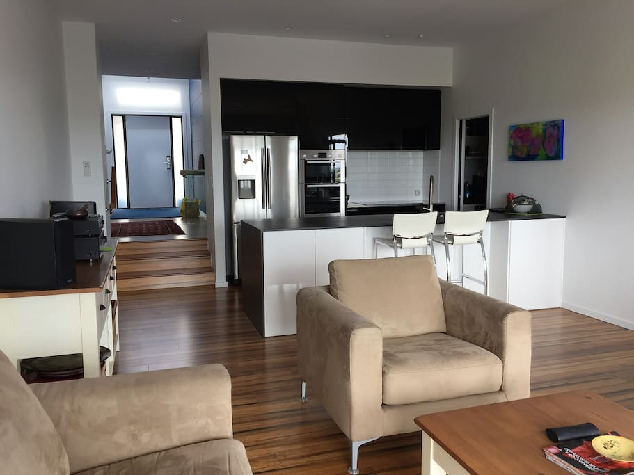Shared living and kitchen spaces