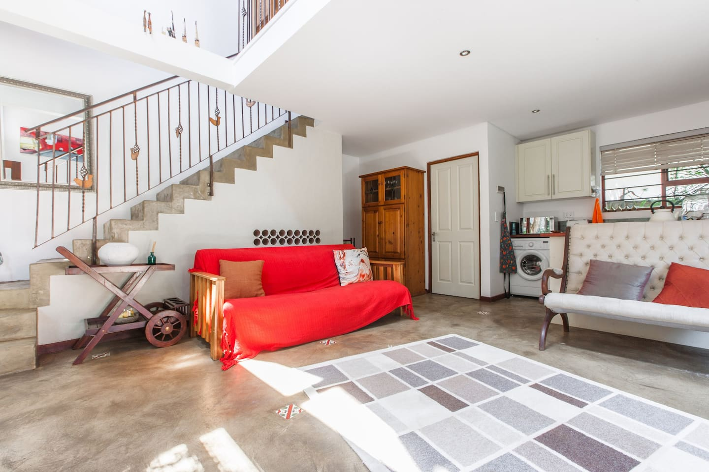 Downstairs sitting room, open plan kitchen, extra guest loo