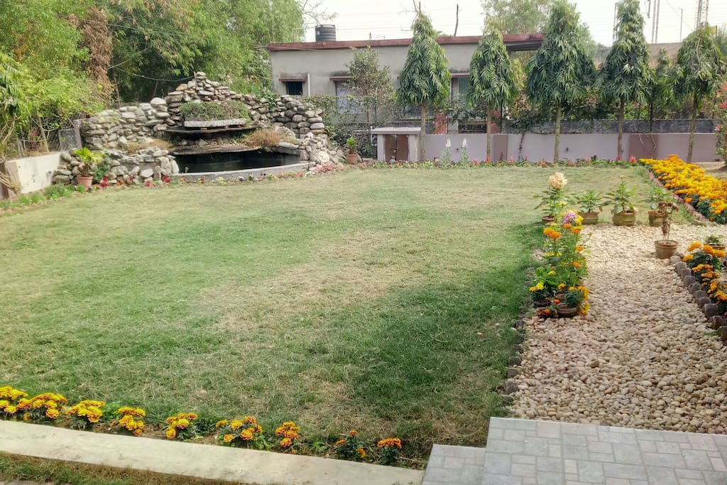 View of lawn & waterfall