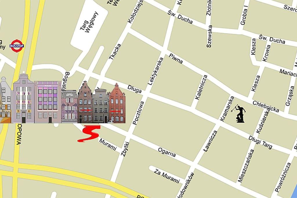 Hundegasse / Ogarna Street - map.