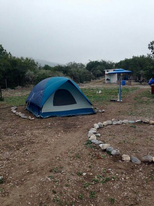 "Tent in ""La cueva de la gotera"" (The leaking cave)."