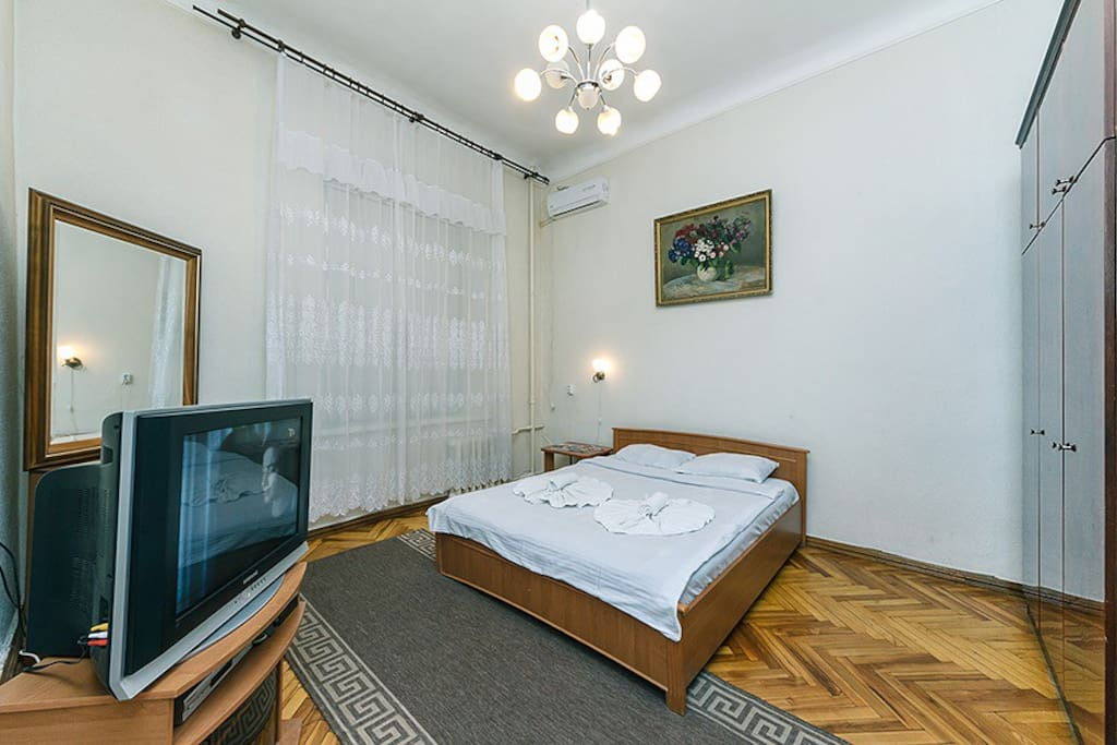 Bedroom with TV and AC