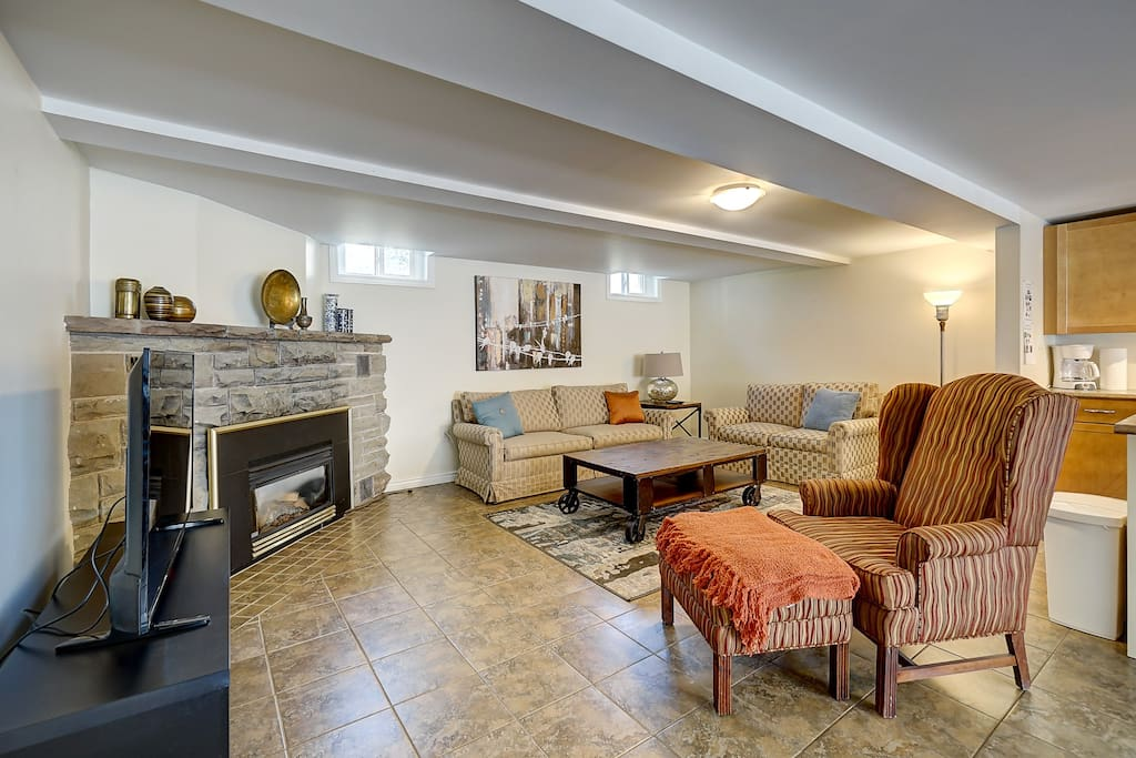 Gas fireplace and heated floors