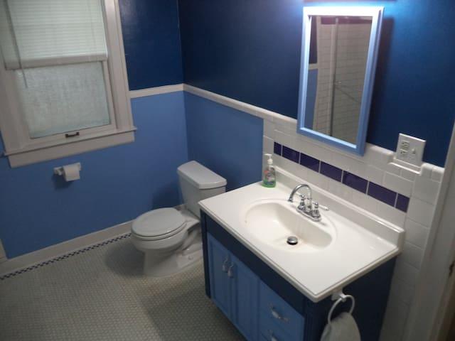 Huge recently remodeled bathroom.