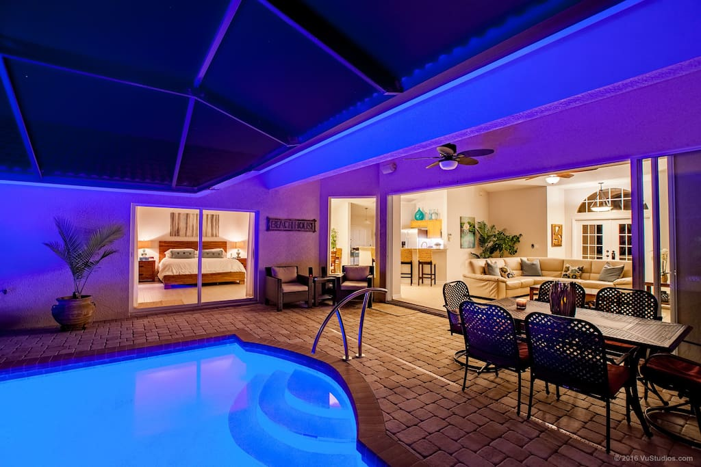 Recently renovated pool/spa area with screen enclosed lanai area. Enjoy the heated salt water pool and spa
