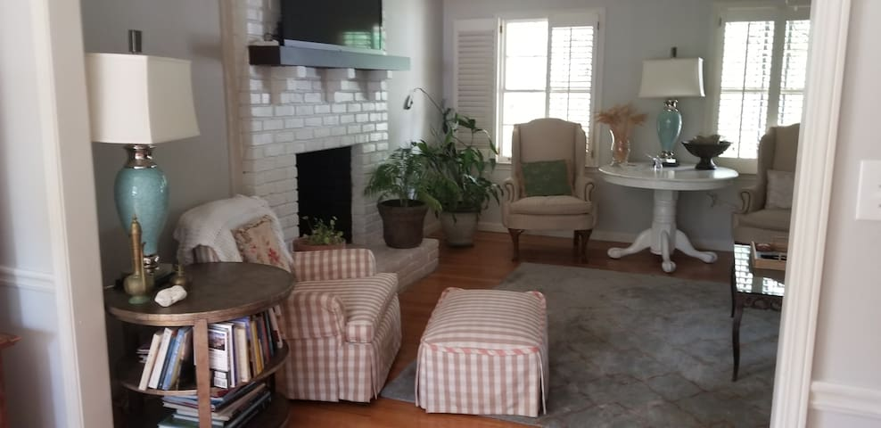 """Upstairs living room,very cozy with a 60"""" smart TV. Balcony door entrance in this room."""