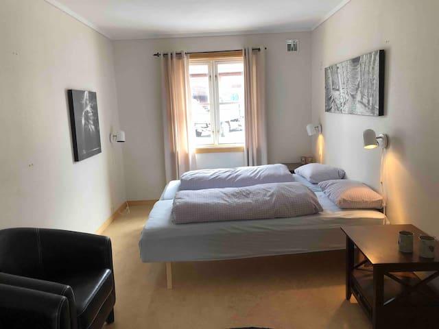 Bjørk er i utgangspunktet et dobbeltrom, men sengene kan separeres og ytterligere to kan settes inn.  Et lyst og trivelig rom på bakkeplan, med idrettshallen på andre siden av vinduet.